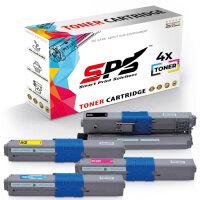 4er Multipack Set Kompatibel für OKI C332 Drucker Toners OKI 46508712 Schwarz, 46508711 Cyan, 46508709 Gelb, 46508710 Magenta